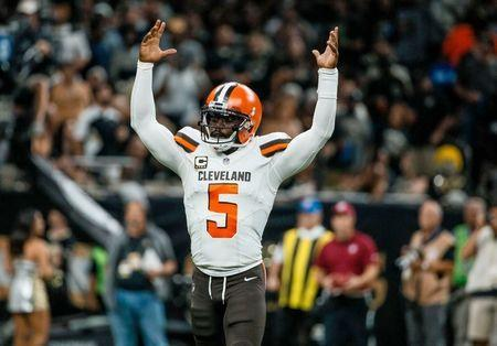 Sep 16, 2018; New Orleans, LA, USA; Cleveland Browns quarterback Tyrod Taylor (5) reacts after a touchdown by running back Carlos Hyde (not pictured) during the third quarter at the Mercedes-Benz Superdome. The Saints defeated the Browns 21-18. Mandatory Credit: Derick E. Hingle-USA TODAY Sports