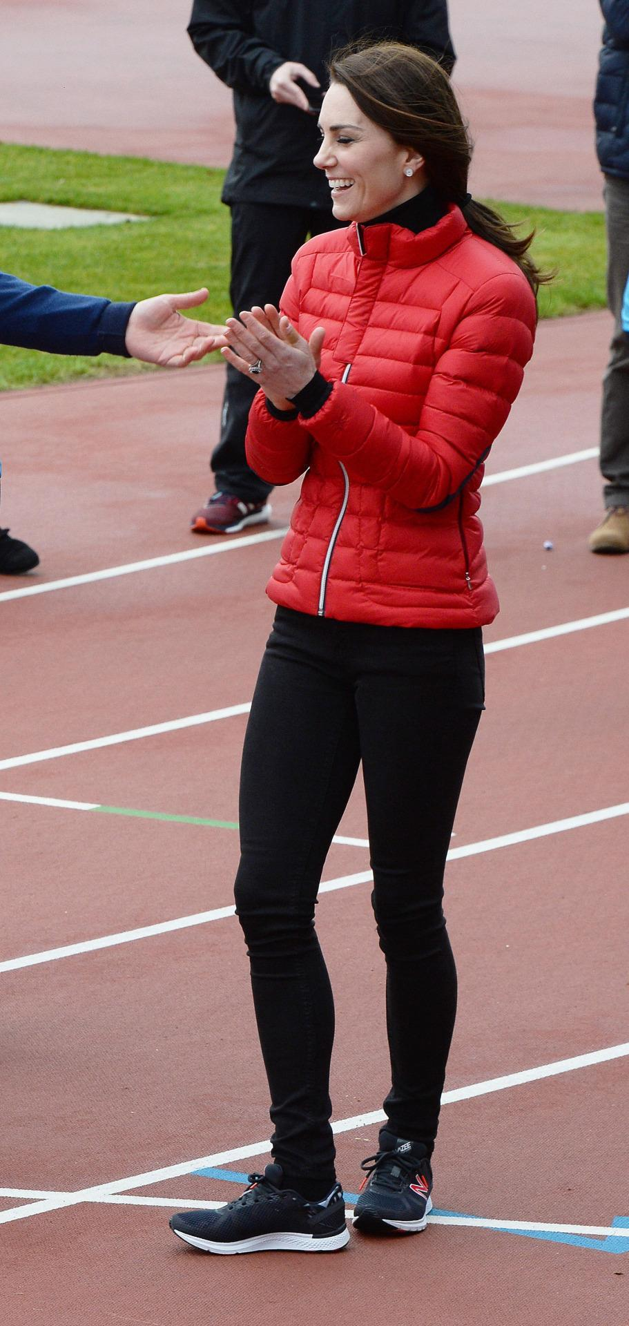 <p>For a marathon training session, the Duchess got on board with the puffer coat trend, choosing a style by French brand, Perfect Moment. She paired the look with black skinny jeans and New Balance trainers. </p><p><i>[Photo: PA]</i></p>