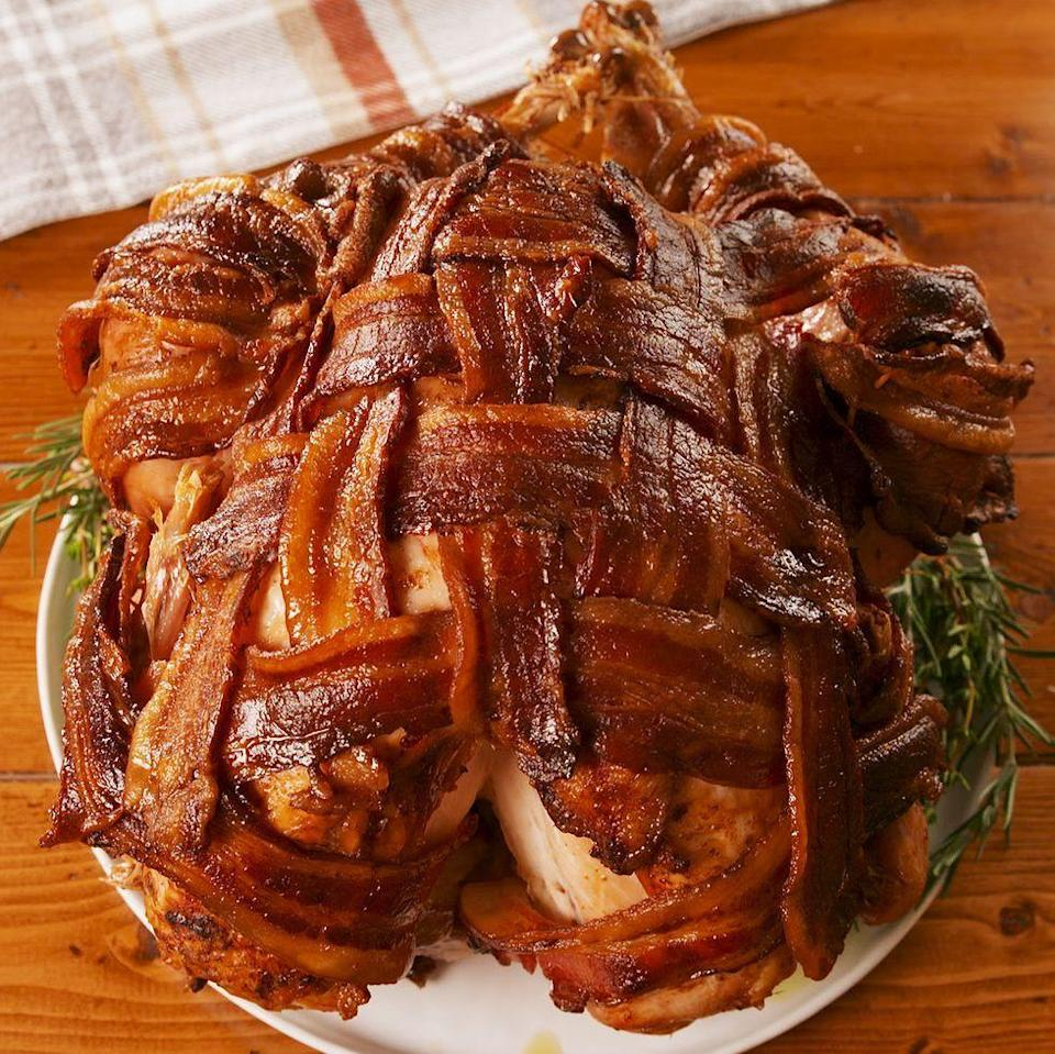 """<p>Turkey is great and all, but we just felt it was missing a little something. Bacon was the obvious answer. Crunchy and not an ounce of dryness, this is the turkey you've been looking for.</p><p>Get the <a href=""""http://www.delish.com/uk/cooking/recipes/a29709014/bacon-wrapped-turkey-recipe/"""" rel=""""nofollow noopener"""" target=""""_blank"""" data-ylk=""""slk:Bacon-Wrapped Turkey"""" class=""""link rapid-noclick-resp"""">Bacon-Wrapped Turkey</a> recipe.<br></p>"""