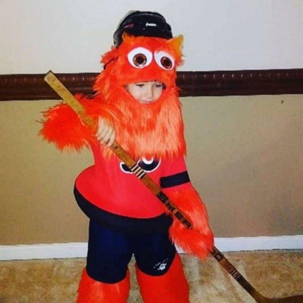 PHOTO: Cailin Ryan attended the Sept. 19 hockey game where she met Gritty. The 8-year-old was dressed in a costume handmade by her mom, Patty Ryan. (Patti Ryan)