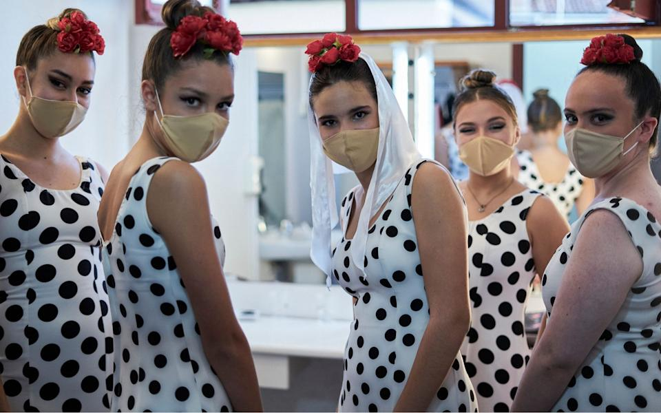 Dancers wearing face masks backstage in Spain. In Madrid, the capacity limitation in theaters is between 50% and 75% as a preventive measure against Covid-19 - Shutterstock