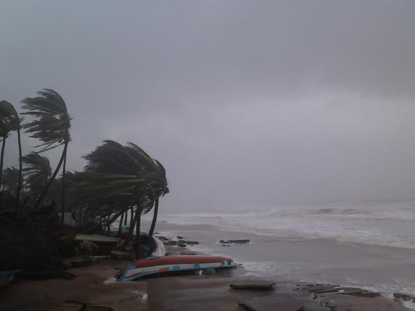 Strong, 140 kph winds swept Puducherry's coastline as Cyclone Thane made landfall at about 9 AM on December 30. Photo by Yahoo! reader Manjini.
