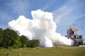Aerojet Rocketdyne's RS-68A rocket engine successfully completed its final acceptance test April 12, 2021, on the B-1 test stand at NASA's Stennis Space Center in Mississippi. The RS-68A powers the United Launch Alliance Delta IV Heavy rocket to send critical spacecraft into orbit. Image Credit: NASA Stennis