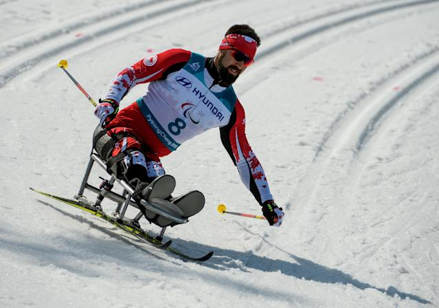 Collin Cameron CAN competes in the Cross-Country Skiing Sitting Men's 1.1km Sprint at the Alpensia Biathlon Centre. The Paralympic Winter Games, PyeongChang, South Korea, Wednesday 14th March 2018. OIS/IOC/Thomas Lovelock/Handout via REUTERS