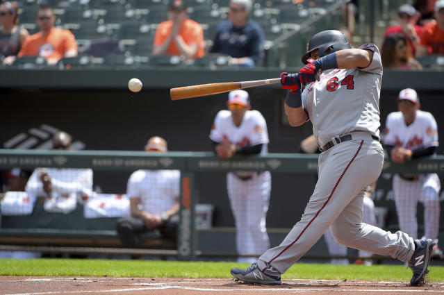 Minnesota Twins Willians Astudillo hits an RBI double to score Jorge Polanco (11) in the first inning of a baseball game against the Baltimore Orioles, Sunday, April 21, 2019, in Baltimore. (AP Photo/Will Newton)