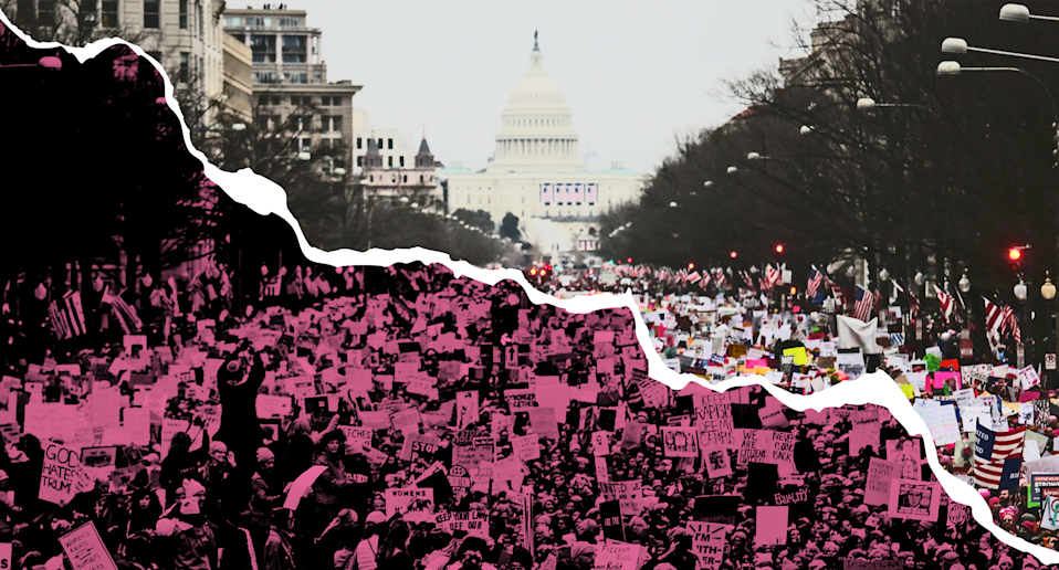Will the Women's March break apart under pressure? (Photo: Getty Images/Quinn Lemmers art for Yahoo Lifestyle)
