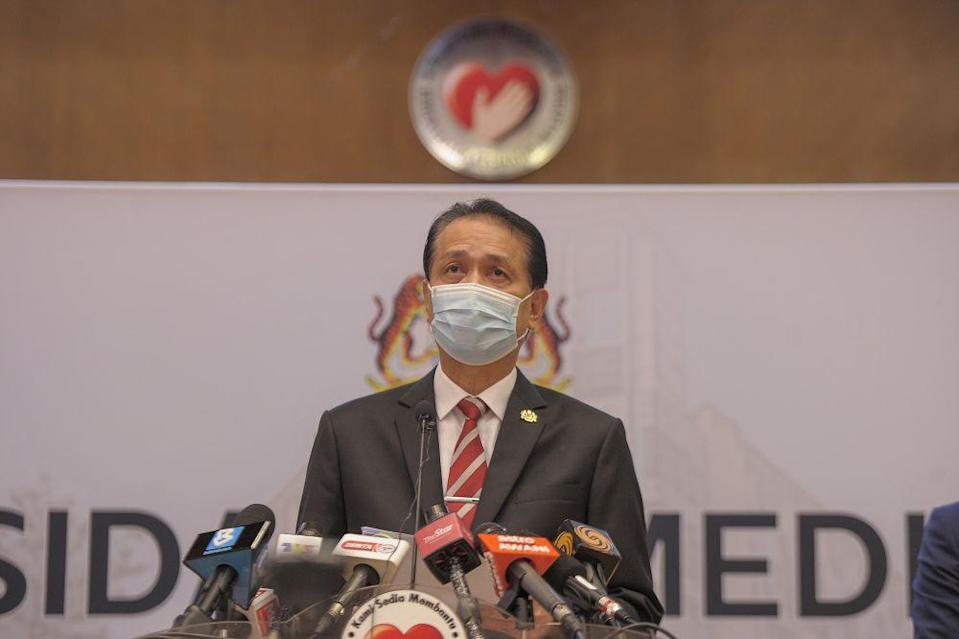 Health director-general Tan Sri Dr Noor Hisham Abdullah said that the R0 could go as low as 0.5 in two weeks if compliance with preventive measures were high.  — Picture by Shafwan Zaidon