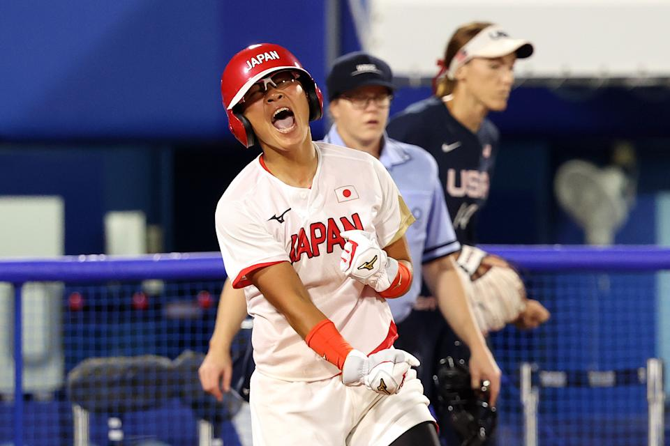 Yu Yamamoto and Japan beat the United States in the gold medal softball game at the Olympics. (Photo by Yuichi Masuda/Getty Images)