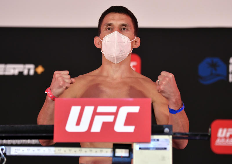 ABU DHABI, UNITED ARAB EMIRATES - JULY 17: Joseph Benavidez poses on the scale during the UFC Fight Night weigh-in inside Flash Forum on UFC Fight Island on July 17, 2020 in Yas Island, Abu Dhabi, United Arab Emirates. (Photo by Jeff Bottari/Zuffa LLC via Getty Images)