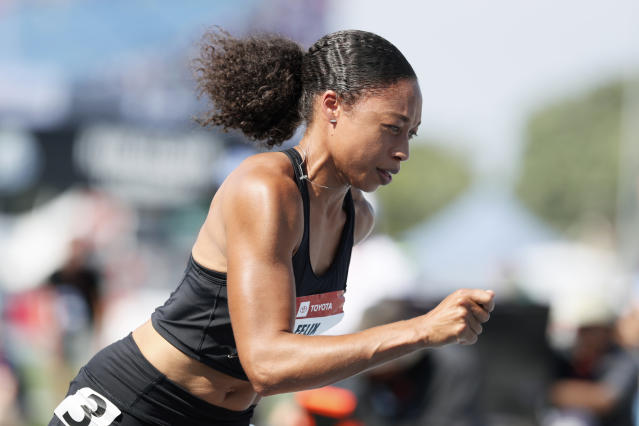 Allyson Felix runs at the start of the women's 400-meter dash final at the U.S. Championships athletics meet, Saturday, July 27, 2019, in Des Moines, Iowa. (AP Photo/Charlie Neibergall)