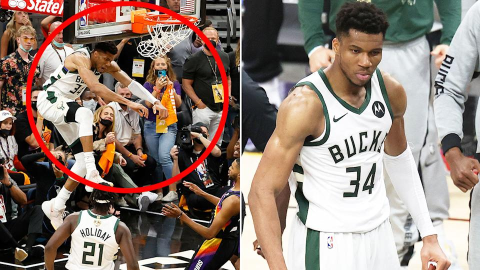 Giannis' game-clinching alley-oop for the Bucks was the standout moment in a gripping game 5 against the Phoenix Suns. Pic: Getty