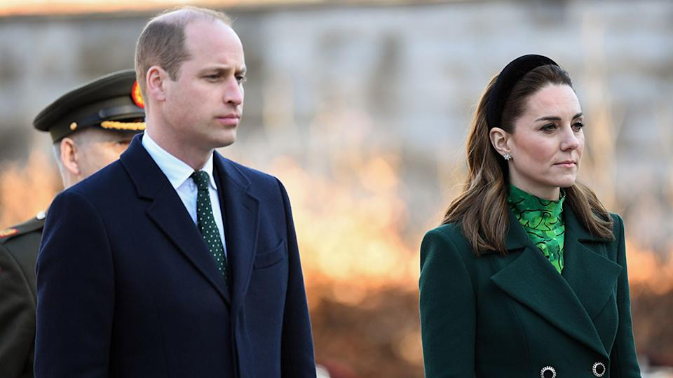 Prince William wears navy suit Kate Middleton wears green outfit