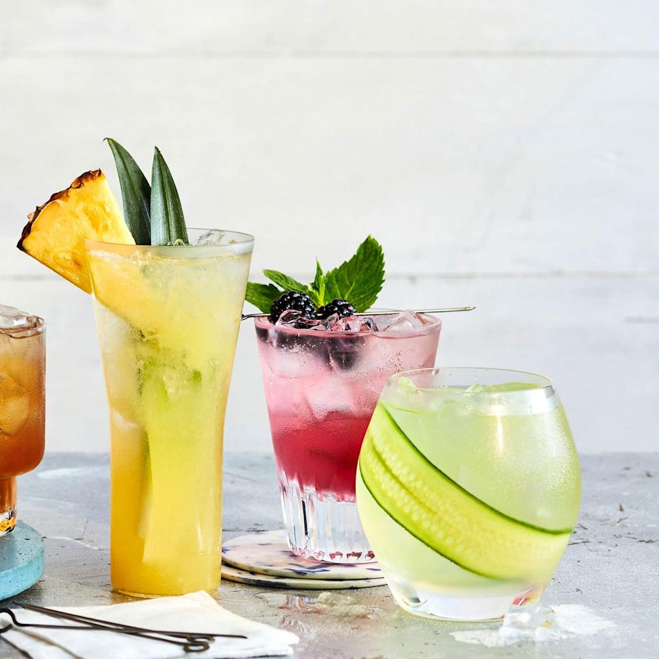 """<p><strong>Recipe: <a href=""""https://www.southernliving.com/recipes/blackberry-mint-sparkler"""" rel=""""nofollow noopener"""" target=""""_blank"""" data-ylk=""""slk:Blackberry-Mint Sparkler"""" class=""""link rapid-noclick-resp"""">Blackberry-Mint Sparkler</a></strong></p> <p>Make the most of in-season blackberries with this easy-sipping, big-batch drink recipe that make porch hangs even less stressful—and way more scrumptious.</p>"""