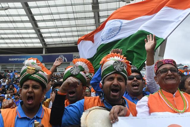India fans turned out to watch their team take on South Africa in the World Cup but there were empty seats in Southampton (AFP Photo/Dibyangshu SARKAR)
