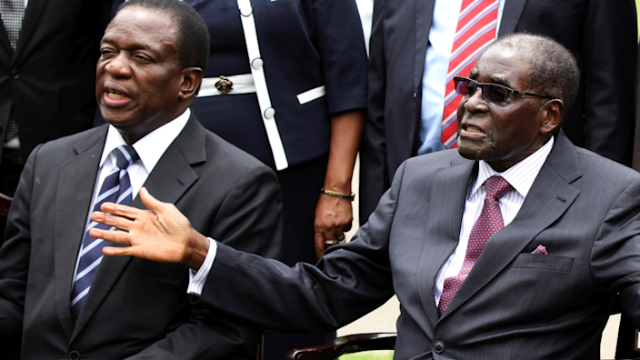 Critics say Robert Mugabe (R) had a restraining force on military unlike his successor Emmerson Mnangagwa (L)