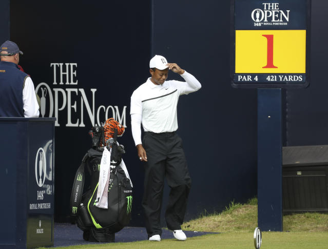 Tiger Woods of the United States walks onto the 1st tee during the second round of the British Open Golf Championships at Royal Portrush in Northern Ireland, Friday, July 19, 2019.(AP Photo/Peter Morrison)