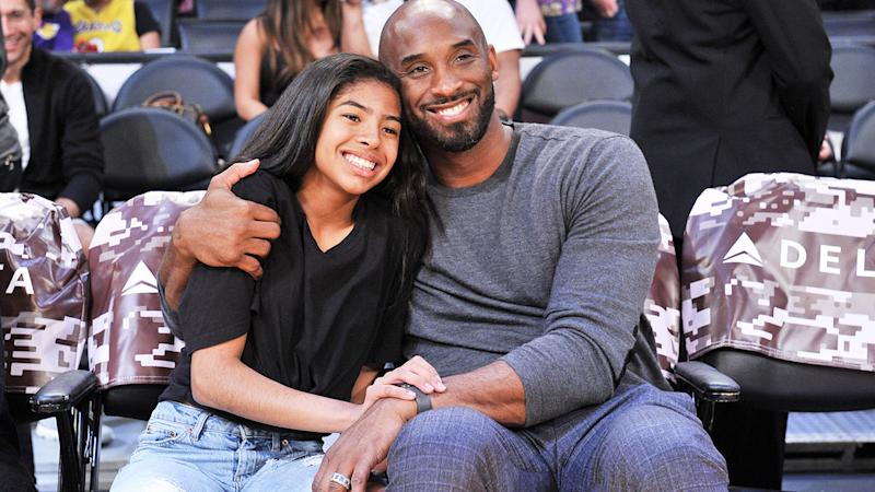 Kobe Bryant and daughter Gianna, pictured here at an NBA game in 2019.
