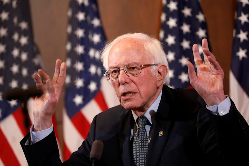 Democratic U.S. presidential candidate Senator Bernie Sanders gives a response to U.S. President Donald Trump's State of the Union address during a campaign event in Manchester, New Hampshire, U.S., February 4, 2020.