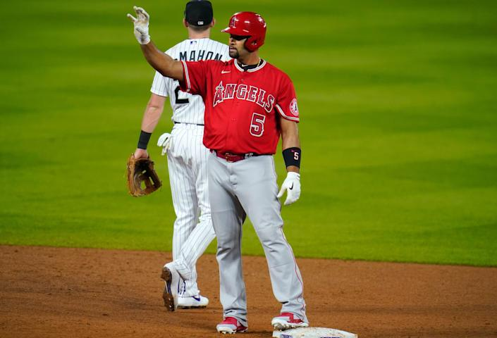 Albert Pujols, front, is in the final year of his 10-year deal with the Los Angeles Angels.
