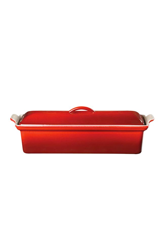 """<p><strong>Le Creuset </strong></p><p>williams-sonoma.com</p><p><a href=""""https://go.redirectingat.com?id=74968X1596630&url=https%3A%2F%2Fwww.williams-sonoma.com%2Fproducts%2Fle-creuset-cast-iron-pate-terrine&sref=http%3A%2F%2Fwww.popularmechanics.com%2Fhome%2Ffood-drink%2Fg28800682%2Fwilliams-sonoma-warehouse-sale-2019%2F"""" target=""""_blank"""">Buy Now</a></p><p><em>$200 (Originally $285)</em></p><p>Perfect for meatloaf, pâtés, and even custard, this versatile terrine cooks food slowly and gently. </p>"""