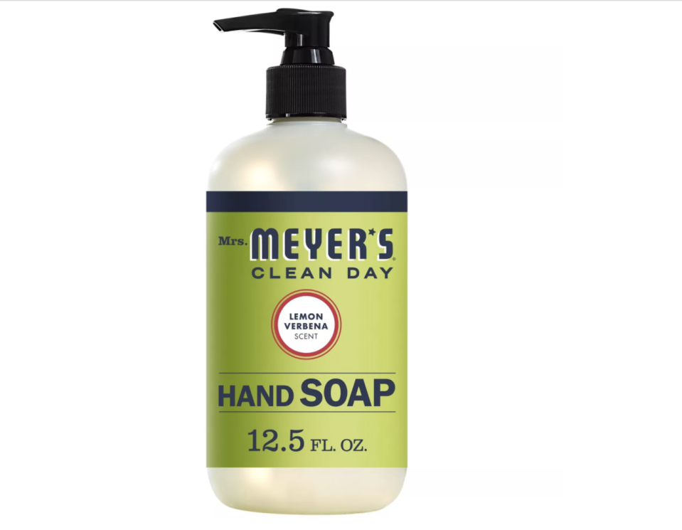 """<p><strong>Mrs. Meyer's Clean Day</strong></p><p>target.com</p><p><strong>$3.99</strong></p><p><a href=""""https://www.target.com/p/mrs-meyer-s-hand-soap-lemon-verbena-12-5oz/-/A-13315171"""" rel=""""nofollow noopener"""" target=""""_blank"""" data-ylk=""""slk:Shop Now"""" class=""""link rapid-noclick-resp"""">Shop Now</a></p><p>An undisputed champ of drugstore hand soaps, the Lemon Verbena scent from Mrs. Meyer's Clean Day is a playful—and much more appealing—take on the classic citrus-y fragrances typically used in household products. </p>"""