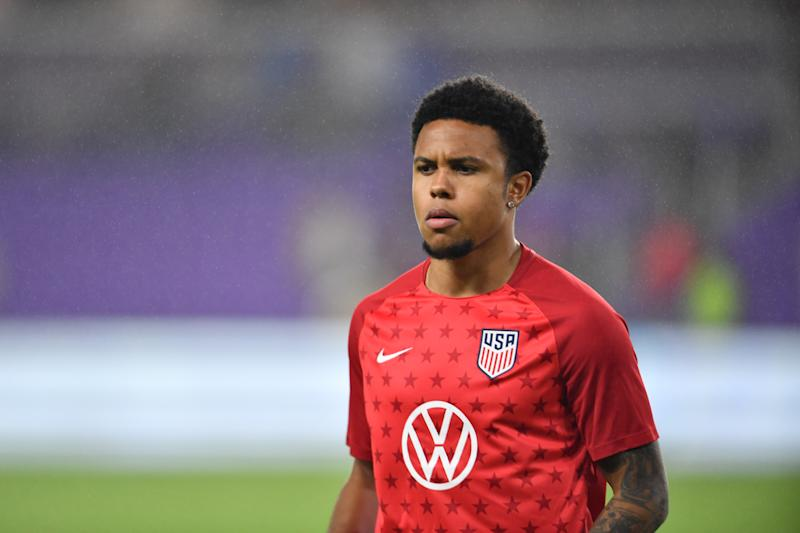 ORLANDO, FL - NOVEMBER 15: Weston McKennie #8 of the United States warming up during a game between Canada and USMNT at Exploria Stadium on November 15, 2019 in Orlando, Florida. (Photo by Roy Miller/ISI Photos/Getty Images)