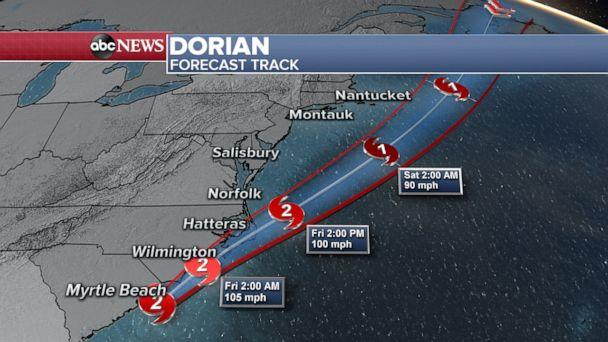 PHOTO: Dorian Forecast Track Map (ABC News)