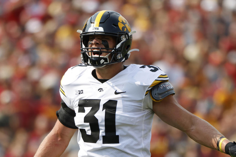 FILE - Iowa's Jack Campbell reacts during an NCAA football game against Iowa State in Ames, Iowa, in this Saturday, Sept. 11, 2021, file photo. Iowa linebacker Jack Campbell has become a one-man wrecking crew. He's the Hawkeyes' leading tackler by far, his scoop and score broke open the Hawkeyes' win over Iowa State, and his fumble recovery set up the tying touchdown in a come-from-behind win over Colorado State. (AP Photo/Justin Hayworth, File)