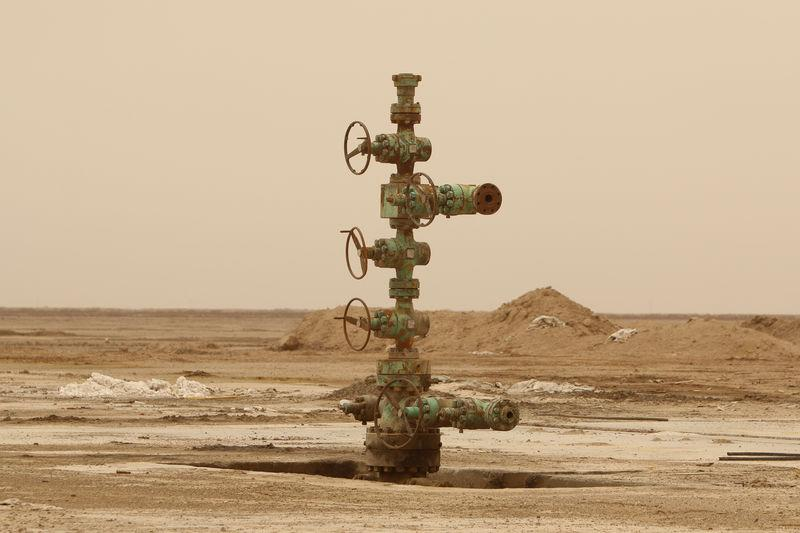 An oil well is seen at the Sindbad oil field near the Iraqi Iranian border in Basra