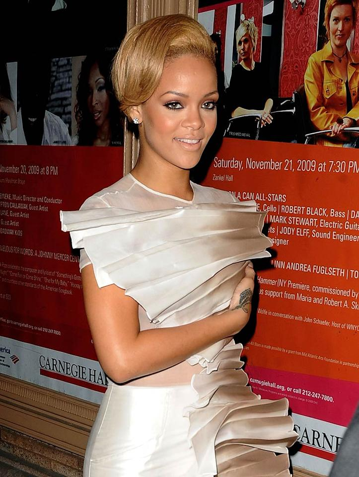 """There's no doubt about it; Rihanna is a gorgeous girl. So why must she ruin every look with that crispy coif? James Devaney/<a href=""""http://www.wireimage.com"""" target=""""new"""">WireImage.com</a> - November 9, 2009"""