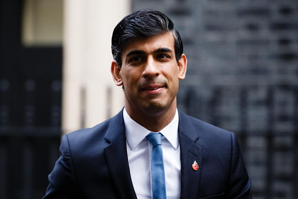Chancellor of the Exchequer Rishi Sunak, Conservative Party MP for Richmond (Yorks), crosses Downing Street for the weekly cabinet meeting, currently being held at the Foreign, Commonwealth and Development Office (FCDO), in London, England, on November 10, 2020. (Photo by David Cliff/NurPhoto via Getty Images)