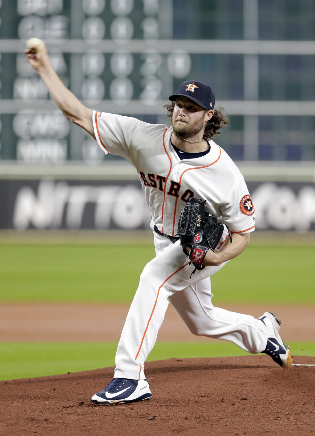 Houston Astros starting pitcher Gerrit Cole throws against the Texas Rangers during the first inning of a baseball game Wednesday, Sept. 18, 2019, in Houston. (AP Photo/Michael Wyke)