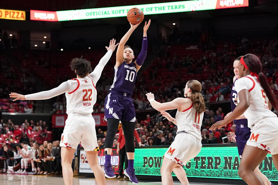 Lindsey Pulliam #10 of the Northwestern Wildcats takes a jump shot during a women's college basketball game against the Maryland Terrapins at the Xfinity Center on January 26, 2020 in College Park, Maryland.  (Photo by Mitchell Layton/Getty Images)