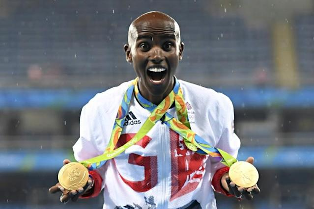 Mo Farah won two golds at the Rio Olympics in 2016 and plans to return to the track for the Tokyo Games (AFP Photo/Eric FEFERBERG)