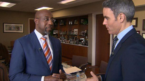 PHOTO: ABC News' Devin Dwyer talks with Ebenezer Baptist Church's Senior Pastor Dr. Raphael Warnock about the Democratic presidential primary, Nov. 17, 2019. (ABC News)