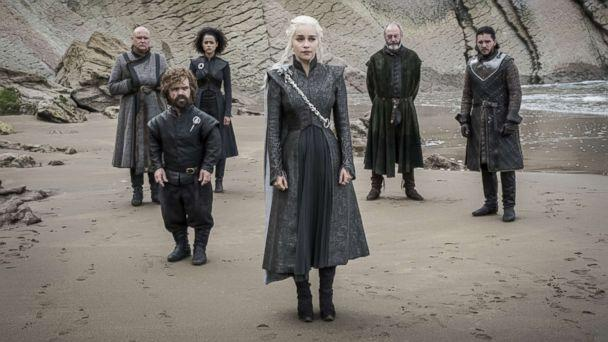 PHOTO: Conleth Hill, Peter Dinklage, Nathalie Emmanuel, Emilia Clarke, Liam Cunningham, Kit Harington on season 7 of Game of Thrones, 2017. (Macall B. Polay/HBO)