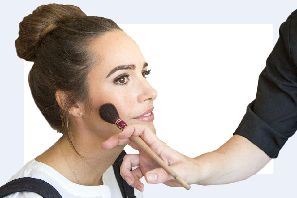 """<p>""""Where you place your blush varies based on the shape of your face, but <strong>placing pigment on the apples of the cheek and blending outward, as opposed to up, can look very youthful and fresh.</strong> The goal is to pull the color and shape of your cheeks out slightly, which makes the face look fuller in areas that typically thin out as we age.""""—<em>Monika Blunder,</em> <em>celebrity makeup artist and founder of Monika Blunder Beauty</em></p>"""