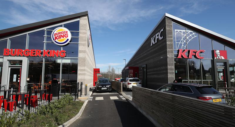 Burger King and KFC outlets in Telford as Boris Johnson has said the Government is ready to impose tougher restrictions to curb the spread of the coronavirus if people do not follow the guidance on social distancing. (Photo by Nick Potts/PA Images via Getty Images)