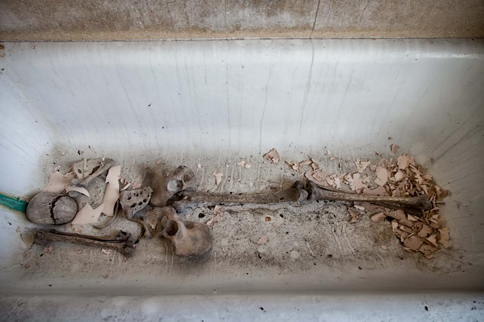 What appear to be human remains lie abandoned in a bathtub. Source: Media Drum World/Australscope
