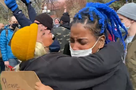 Brianna Raine (left) and her mother, Marvalyn Raine, both of Chicago, embrace outside the Hennepin County Government Center in Minneapolis immediately after the verdict was announced on April 20, 2021.