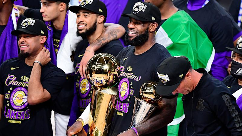 LeBron James became the first player to win NBA Finals MVP with three different teams, after he was unanimously voted as winner of the award after the Lakers defeated the Heat in game 6. (Photo by Douglas P. DeFelice/Getty Images)