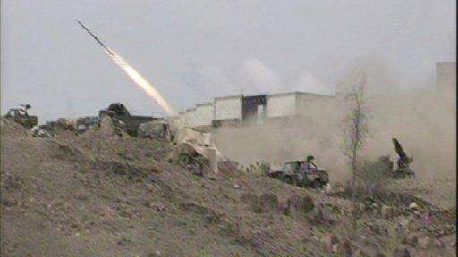 A mobile phone image shows a Yemeni army vehicle firing a rocket during fighting against al-Qaeda supporters in Loder. Authorities announced on Friday they had deployed around 200 members of anti-terrorist forces to Loder to counter the mounting Al-Qaeda threat