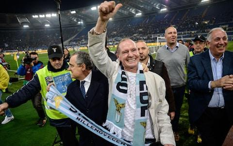 Paul Gascoigne is given a hero's welcome by Lazio fans - Credit: afp