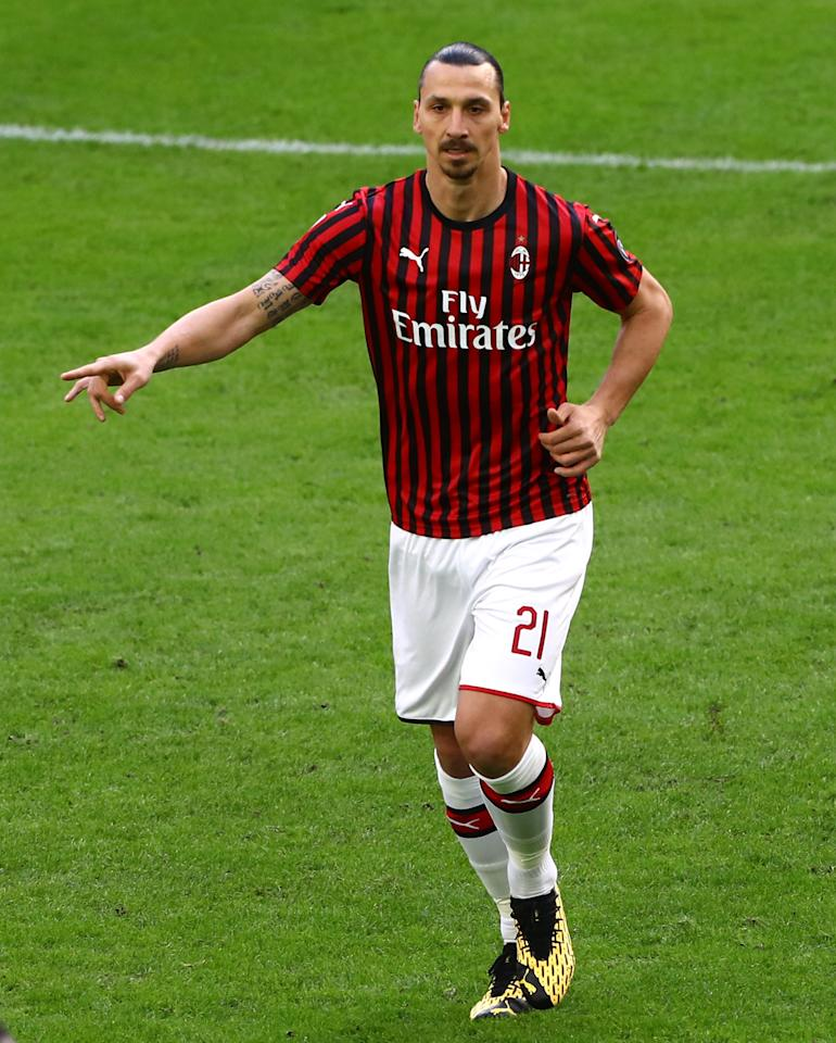 MILAN, ITALY - MARCH 08:  Zlatan Ibrahimovic of AC Milan gestures during the Serie A match between AC Milan and Genoa CFC at Stadio Giuseppe Meazza on March 8, 2020 in Milan, Italy.  (Photo by Marco Luzzani/Getty Images)