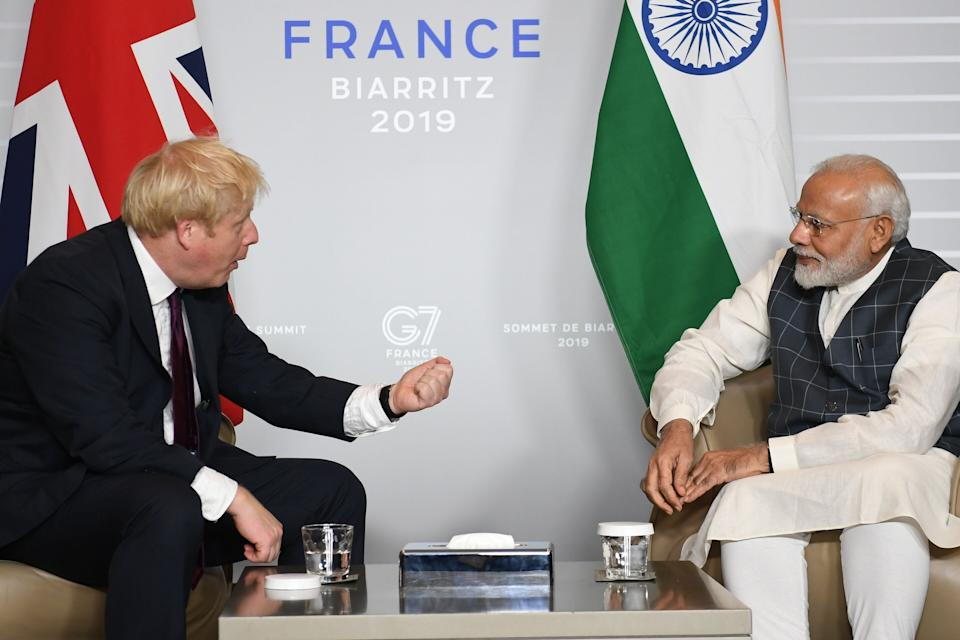 Boris Johnson meets Indian PM Narendra Modi during the G7 summit in 2019 (Photo: Pool via Getty Images)