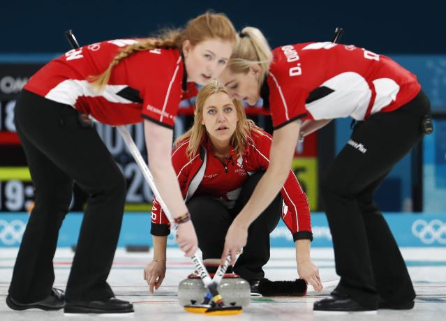 <p>Anna Sloan and Vicki Adams of Britain sweep. REUTERS/Cathal McNaughton </p>