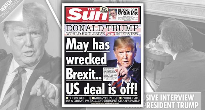 The Sun's July 13 cover; Screengrab of thesun.co.uk