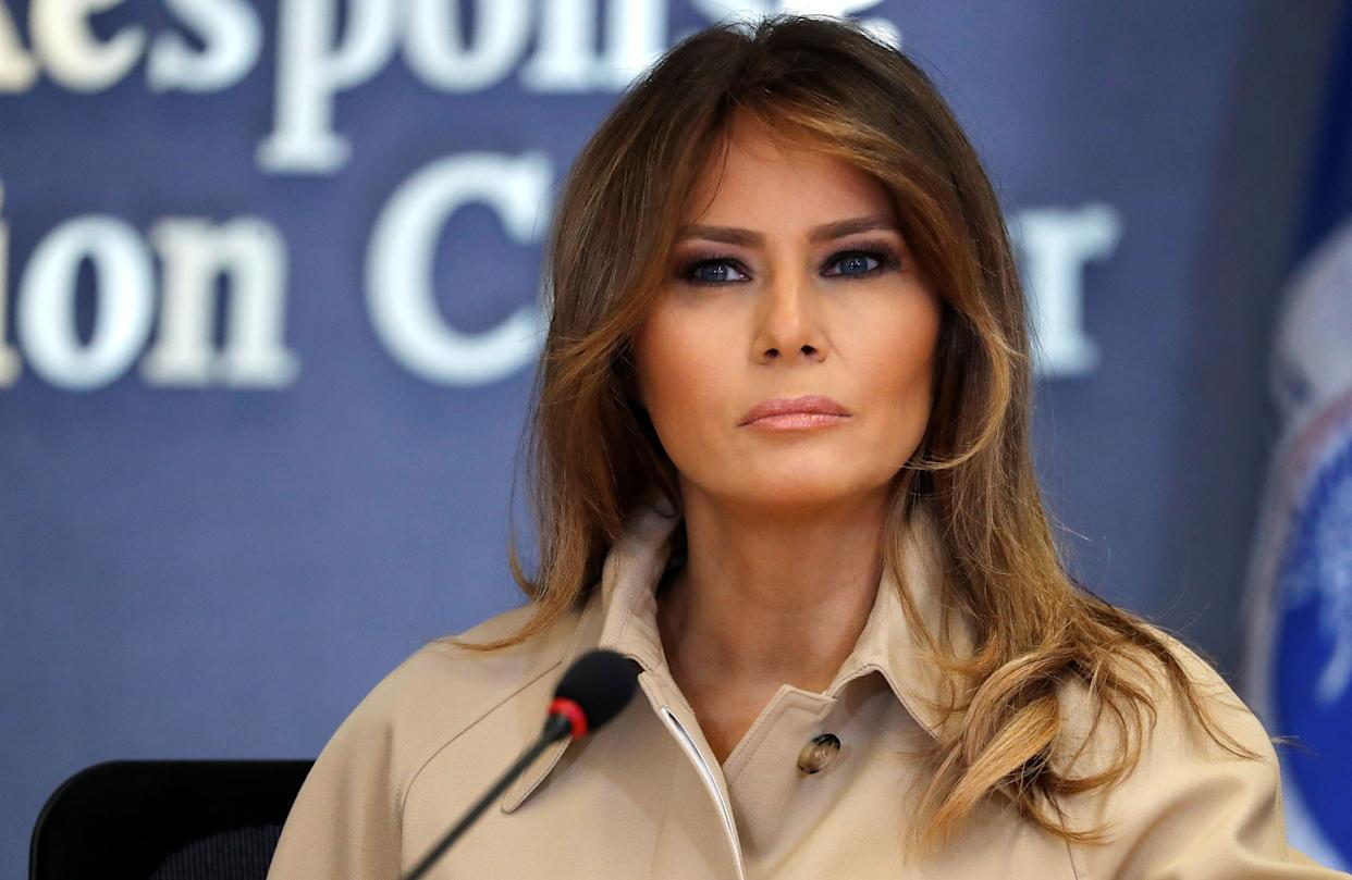 U.S. first lady Melania Trump at the Federal Emergency Management Agency.