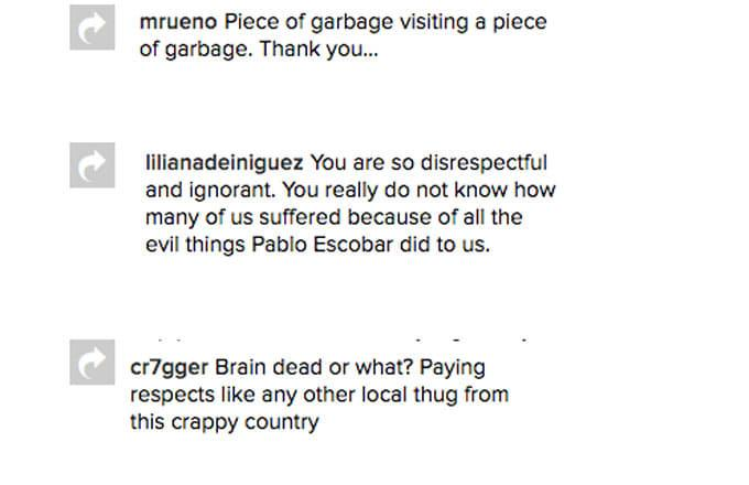 Instagram comments left for Wiz Khalifa after a picture with Pablo Escobar.