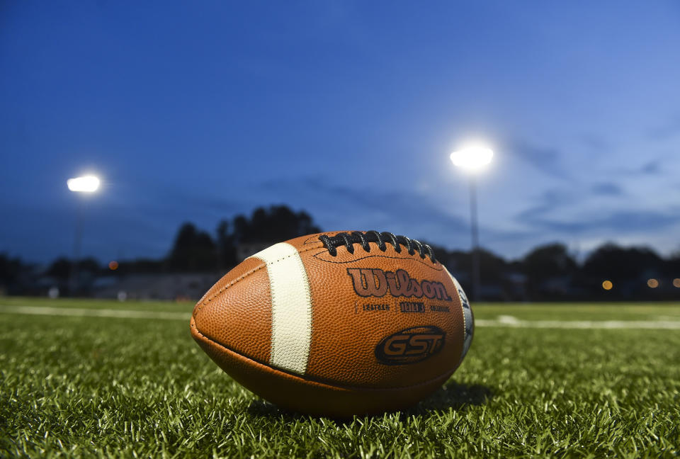 Cumru twp., PA - October 9: A football on the sidelines before the start of the game. A football on the sidelines before the start of the game. High School football, the Exeter Eagles vs the Gov. Mifflin Mustangs in Cumru Friday night October 9, 2020. Gov. Mifflin won 56-14. (Photo by Ben Hasty/MediaNews Group/Reading Eagle via Getty Images)